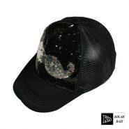 کلاه پشت تور پولکی طرح سبیل مشکی