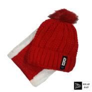شال و کلاه بافت قرمز